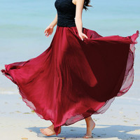 Bohemian Solid Color with Wavy Edge Maxi Dress Skirt
