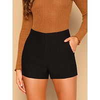 SHEIN Slant Pocket Solid Shorts