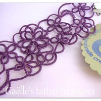 tat-too bracelet, purple hand tatted bracelet