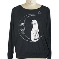 MOON CAT Womens raglan pullover American Apparel witch (sm med lg )