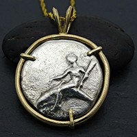 Son of Poseidon coin pendant gold, ancient boy on dolphin coin pendant, real Greek coin pendant 14k gold dolphin pendant for her unique gift