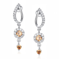 Flora Drop Amber and Clear Round Cubic Zirconia Earrings