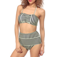 Lime Striped High Waist Two Piece Swimsuit