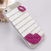Crystal Red Lip Mobile Phone Case Deco Den Kit for iphone 5 5s 6 6s plus, for galaxy S6 S7 and more