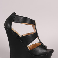 Liliana Strappy Front Zipper Platform Wedge