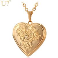 U7 Photo Locket Pendant Necklace Gold Plated Romantic Love Heart Vintage Rose Flower Jewelry For Women Valentine's Day Gift P326