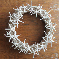 Pencil Starfish Wreath, White, Nautical Wall Decor