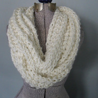 Off White Infinity Scarf, Cream Infinity Scarf, Loop Scarf, Back to School