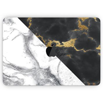 """White-Black Marble & Digital Gold Foil V1- Skin Decal Wrap Kit Compatible with the Apple MacBook Pro, Pro with Touch Bar or Air (11"""", 12"""", 13"""", 15"""" & 16"""" - All Versions Available)"""