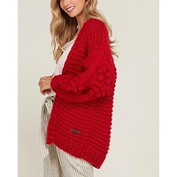 Heart On My Sleeves Handmade Relaxed Open Knit Knitted Open Front Cardigan Sweater in Red