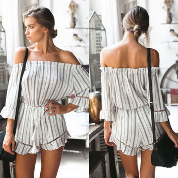 Fall Fashion Patchwork Shorts Dress Stripes Hollow Out Three-quarter Sleeve Romper [8906172167]