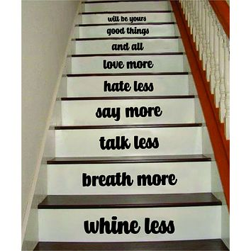Whine Less Breathe More V2 Stairs Quote Wall Decal Sticker Room Art Vinyl Family Happy Home House Staircase Dream Inspirational Love