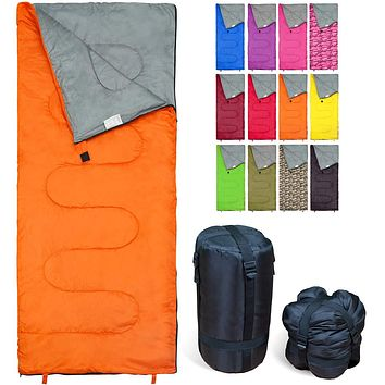 REVALCAMP Sleeping Bag Indoor & Outdoor Use. Great for Kids, Boys, Girls, Teens & Adults. Ultralight and Compact Bags are Perfect for Hiking, Backpacking & Camping Orange