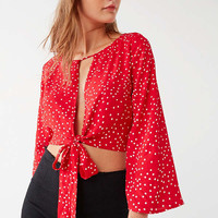 Backstage Imperial Tie-Front Polka Dot Top | Urban Outfitters