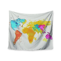 "Oriana Cordero ""World Map"" Rainbow White Wall Tapestry"