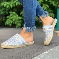 DIOR Hot Sale Canvas Embroidered Letter Baotou Slippers Casual Shoes Fisherman Shoes
