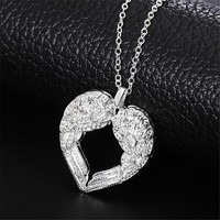 JEXXI Elegant Angel Wing Design Hollow Love Heart 925 Sterling Silver Pendant Cute Link Chain for Women Necklace Jewelry