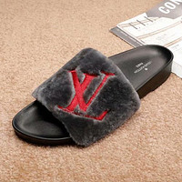 LV Louis Vuitton Women Fashion Fur Slipper Sandals Shoes