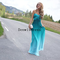 A-line Sweetheart Sleeveless Floor Length Chiffon Mint Backless Ruffles Beaded Long Evening Dresses Evening Gown Prom Dresses Prom Gown
