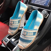 DIOR CD stripe stitching color canvas embroidered fisherman shoes ladies lazy shoes Blue