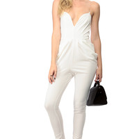 Pearly White Plunging Harem Jumpsuit