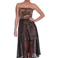 Beautifly Women's Strapless Leopard Print Semi-sheer Hem Evening Dress