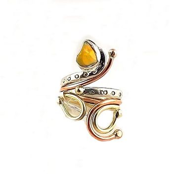Ethiopian Opal Rough Three Tone Sterling Silver Adjustable Ring