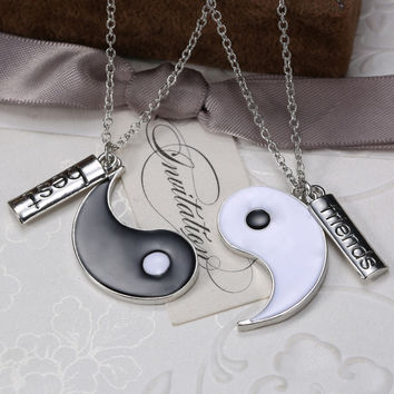 Vintage Silver Plated Yin Yang Best Friends Pendant Necklace