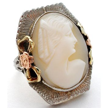 14K White Gold Shell Cameo Ring Size 4