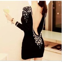 Sexy Short Back off Backless Plastic Pearl Beaded V back Dress