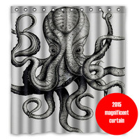 octopus shower curtain giant octopus attack shower curtain