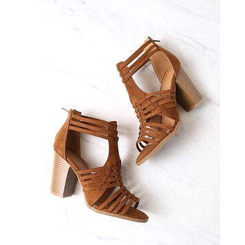 nothing breaks like a heart cutout woven ankle strap suede peep toe booties in chestnut