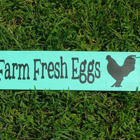 Farm Fresh Eggs Wooden Sign (Caribbean Blue - Green)