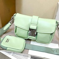 Prada leather solid color ladies two-piece shoulder bag messenger bag cosmetic bag small purse Green