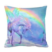 Unicorn and rainbow pillow
