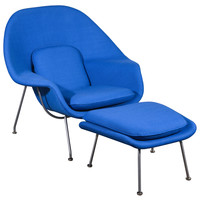 Eero Saarinen womb chair and ottoman in Vintage Girard Fabric