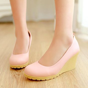 Women Wedges Ankle Straps Bow High Heels Platform Shoes 3593