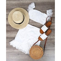 White Crochet Trim Two Piece Outfit Set