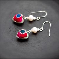 Puffy heart pearl pink embroidery earring Charm Small cute Ethnic tribal Red love lucky talisman Teen Tween Chinoiserie Bohemian Boho luxe