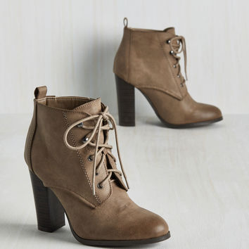 Romp to Victorian Bootie in Taupe | Mod Retro Vintage Boots | ModCloth.com