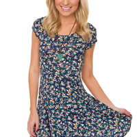Rose Garden Floral Dress - Blue