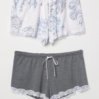 2-pack Pajama Shorts - Light pink/floral - Ladies | H&M US