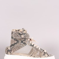 Python Open Toe Mesh Inset Lace Up High Top Flatform Sneaker