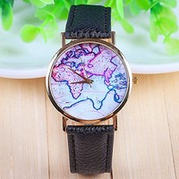 3 Colors New Arrival World Map Leather Strap Watches?(Black)