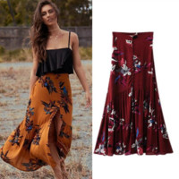 Vacation Dress Summer Bohemia Print Ruffle Skirt