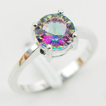 Concave Cut Rainbow Mystic Topaz 925 Sterling Silver Wedding Friendship Promise Cubic Zirconia CZ Ring