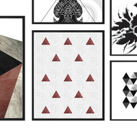 Red triangles pattern, digital print, wall art print, printable wall art, triangles print, affiche scandinave, triangles printable poster