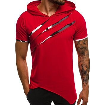 Sexy Mens T Shirt 2019 Fashion Short Sleeve Summer Casual Patchwork Slim Short Sleeve Hooded Z4