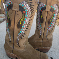 Vintage Hand Painted Womens Cowboy Boots Size 8