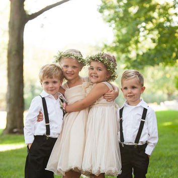 Simple Flower Girl Dresses 2016 Country Fashion Style Pageant Dress For Little Girls Knee Length Cheap Kids Evening Gowns